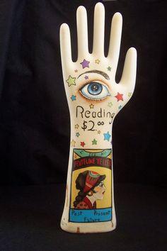 Hand Painted Folk Art Vintage Glove Mold Form Gypsy Fortune Teller Third Eye Palm Reader