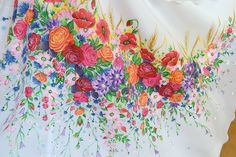 Poland: handpainted weddng dress from the region of Podhale Polish Wedding, Folk Costume, Costumes, Painted Clothes, Folklore, New Trends, Roots, Tapestry, Hand Painted