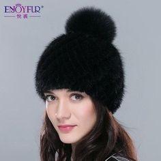 9f080571d56 ENJOYFUR real mink fur hats for women winter knitted mink fur cap with fox  fur pom