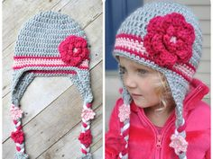 HAND MADE WITH LOVE in the USA **MADE TO ORDER!** An adorable crochet hat with a big raspberry flower on the side, flowers on the strings make this hat stand out! ***Do you need RUSH SHIPPING? If you need your hat this week add rush shipping to your order here: https://www.etsy.com/listing/207042281/rush-order-fee-front-of-the-line?ref=shop_home_feat_3 Flower String Hat WITHOUT STRIPE available in my shop here: https://www.etsy.com/listing&#x2F...