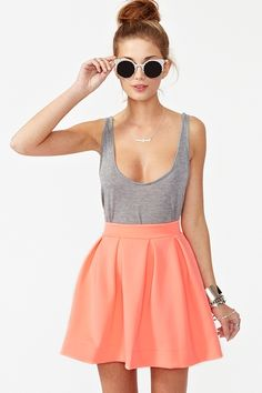 neon coral skirt