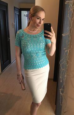 Woman crochet top Audrey summer cotton lace PDF