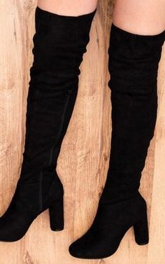 00410506be3c1 Lincoln Block Heel Over Knee Tall Boots Black Suede Style By SpyLoveBuy