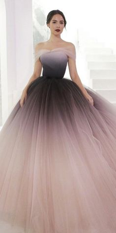 27 Colored Wedding Dresses To Make You A Stylish Bride ❤ colored wedding dress. 27 Colored Wedding Dresses To Make You A Stylish Bride ❤ colored wedding dresses ball gown off the shoulder ombre dark purple poem ❤ Full gallery: weddingdressesgui. Prom Girl Dresses, Pretty Prom Dresses, Ball Gown Dresses, Bride Dresses, Elegant Dresses, Ombre Prom Dresses, Ball Gowns Prom, Tulle Prom Dress, Homecoming Dresses
