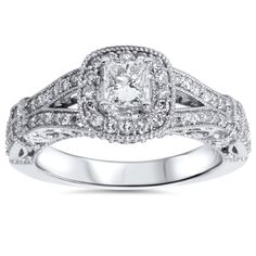 1.00Ct Princess Cut Halo Diamond Vintage Engagement Ring Antique 14K White Gold by Pompeii3 on Etsy https://www.etsy.com/listing/204739356/100ct-princess-cut-halo-diamond-vintage