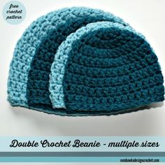 I recently received a request for a simple double crochet hat pattern; like my half double crochet hat pattern. If you prefer half double crochet hats please try one of these free patterns (. Crochet Hat Sizing, Crochet Baby Hat Patterns, Crochet Beanie Pattern, Crochet Cap, Crochet Baby Hats, Double Crochet, Easy Crochet, Crochet Hooks, Free Crochet