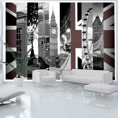 Papier peint Symbols of London Artgeist Star Wallpaper, Embossed Wallpaper, Wallpaper Online, Wall Wallpaper, Tile Panels, London Skyline, Mural Wall Art, Hazelwood Home, Home Art