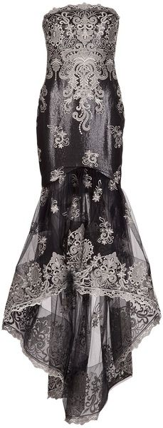 Marchesa Black Embroidered Tulle Skirt Gown