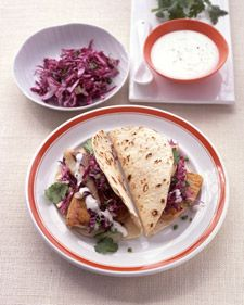 My favorite fish tacos, from Everyday Food. The sauce is like crack, so yummy! (I must be hungry, I am pinning food!)