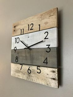 Handcrafted Wall clock in neutral colors Rustic Modern decor farmhouse clock gift for him or her anniversary housewarming clock Diy Clock, Clock Decor, Diy Wall Decor, Diy Wall Clocks, Clock Wall, Decoration Palette, Farmhouse Clocks, Crafts With Glass Jars, Modern Rustic Decor