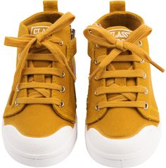 Shop The 10Is Girls, Boys Mid Lace Trainers In Yellow At Elias & Grace. Browse The Cutest Babies Clothes From 10Is, Handpicked By Elias & Grace