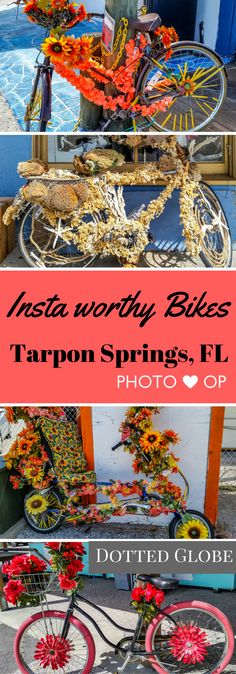 Tarpon Springs, Florida has these beautiful decorated bikes waiting to be Instagrammed on its Sponge Dock. What is a Sponge Dock? Read more in the comprehensive guide to visiting Tarpon Springs, Florida