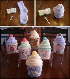 Cupcake Socks to give to Nursing Home residents. They often loose their socks. This is a fun way to replace them.