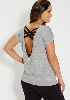 plus size spacedye top with strappy scoop back (original price, $29.00) available at #Maurices