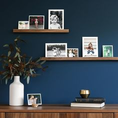 A classic display for photo prints and cards, the Wooden Photo Ledge is handcrafted in the USA and comprised of real walnut wood. Layer your favorite paper prints within the thin groove and rotate them for any occasion – set on a mantle or secure to the wall for a floating shelf effect.Prints sold separately.