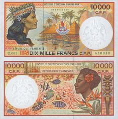 The currency of French Polynesia, New Caledonia, and Wallis and Futuna is the CFP Franc, which was introduced in Tahiti, Thinking Day, France, French Polynesia, Vintage World Maps, Marvel, Cool Stuff, Illustration, Banknote