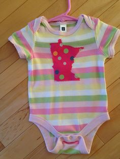 Minnesota Baby Onesie with Polka Dot MN Appliqué ~ GAP size 3-6 months ~ One-of-a-Kind~ MN Baby Love ~ Perfect Gift ~ Upcycled ~ Cute! by ArtThatCooks on Etsy