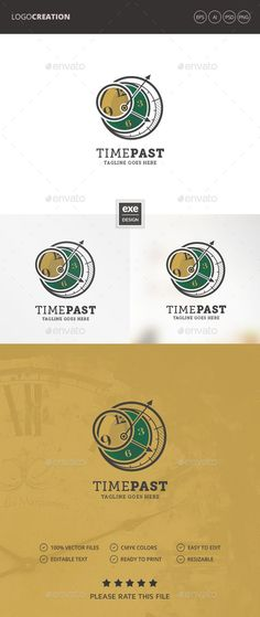 Clock Logo: Object Logo Design Template created by Exe-Design. Clocks Inspiration, Logo Inspiration, Logo Design Template, Logo Templates, Logo Photoshop, Logos Photography, Logos Vintage, Clock Tattoo Design, Logos Ideas