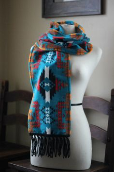 Teal Native American Print Scarf by shimasnavajojewelry on Etsy
