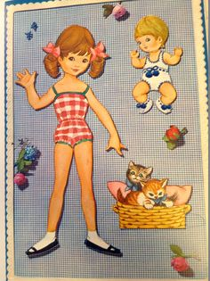 Adorable vintage paper doll set from Denmark! This paper doll book depicts a sweet young girl on the cover. When opened a nursery scene pops-up complete with all kinds of cool stuff like, a bassinet, a tiny bed, toys and a dressing table. These mentioned items are attached and meant to stay that way. There are 3 punch-out dolls. Vivi, her baby sister, and a basket of kittens. The final two pages are punch outs of costumes for both Vivi and the baby. Everything is in excellent condition…