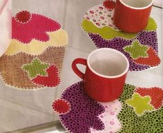 porta copo em patchwork cupcake