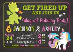 Dragon & Unicorn Invitation Joint Birthday Party Magical Sibling Invitation Combined Invitation Twin Unicorn Invitations, Boy Birthday Invitations, Printable Invitations, Party Printables, Invites, Girl Birthday, 9th Birthday, Birthday Ideas, Happy Panda