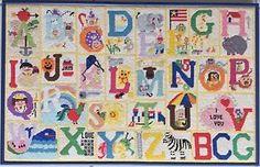 Alphabet Letter Word Sampler Framed Completed Finish Cross Stitch Needlepoint   eBay
