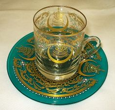 Murano glass enamelled and gilt emerald green cup and saucer set by Cenedese, Venice, Italy 20th Cent.