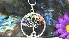 Tree Of Life Necklace, Tree Of Life Pendant, Chakra Necklace, Pendant Necklace, Chakras, Gemstones, Awesome, Etsy, Jewelry