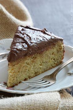 Yellow Banana Cake with Whipped Dark Chocolate Ganache Recipe #baking #dessert