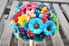 rainbow blue wood bouquet