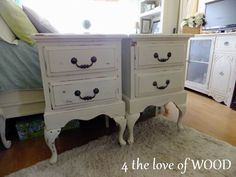 Matching Tall Shabby Chic white Nightstands