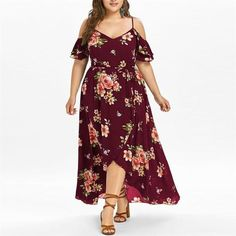 Maxi dress Flower Print Short Sleeve Cold Shoulder. Plus Size Clothing ... cd7e6eec41fd