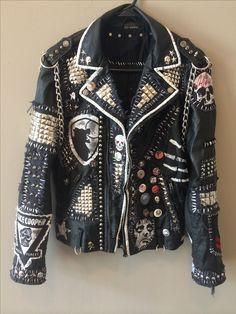 Do people really buy these? It takes all the heart out of expressing yourself with your own jacket designs.and since when is Alice Cooper punk? Lmao Custom punk jackets by Chad Cherry from Chad Cherry Clothing on Etsy. Fashion Mode, Diy Fashion, Punk Fashion Style, Latex Fashion, Fashion Boots, Fashion Dresses, Punk Outfits, Cool Outfits, Scene Outfits