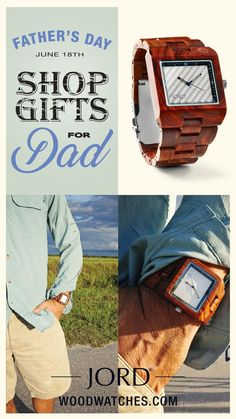 Surprise Dad with a truly unexpected gift - a natural wood watch from JORD! Woods from around the world are hand-crafted to make quality cases and bands that are then outfitted with premium quartz movements, creating a timepiece that is sure to leave him speechless. Scratch proof glass, a double deployment buckle closure, and a natural maple wood presentation box complete this perfect present! Find his JORD today at woodwatches.com - Free shipping in the U.S. , 1 year warranty.