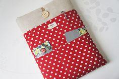 11, 13, 15, 17 inch Macbook Sleeve, Retina case, Custom Laptop sleeve Padded Notebook PC Cover / Polka Dot