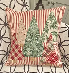 Christmas Trees on Red Ticking Pillow Cover