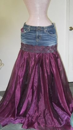 Chloé is a fabulous, flowing purple tulle and satin bohemian ballroom jean skirt and one of my line of Renaissance Denim Couture. I chose the name Renaissance Denim for my line of couture because I upcycle denim and give it new life with French bohemian flair. This is a Made to Order