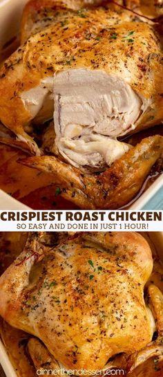Roast Chicken Crispy Skin, Chicken Fried Steak, Oven Roasted Chicken, Roasting Chicken In Oven, Bake Chicken In Oven, Rosted Chicken, Rotisserie Chicken Oven, Roasting Pan, Baked Whole Chicken Recipes