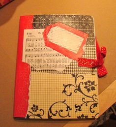 Using pages form old song books to decorate a prayer journal.  What a pretty idea.