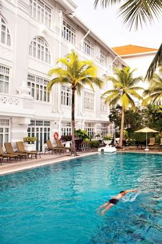 The pool at George Town, Malaysia's Eastern & Oriental Hotel overlooks the Strait of Malacca—how evocative is that!