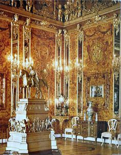 "1917, The Amber Room in the Catherine Palace, A. Seest: In June-August 1917, color images of interiors, objects of arts and crafts and paintings in the Catherine and Alexander's palaces were made (by autochromatic method). After that, 83 plates were handed over to the ""Three-volume work"" ""Art treasures of Tsarskoe Selo"", planned for publishing by Kopeyka in 1918, and disappeared without a trace."