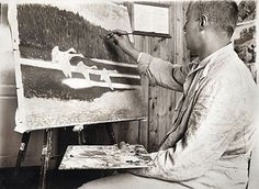 Lennart Segerstråle is painting the Swans on a summer night-work at Hyytiälä forest station Korkeakoski 1912. - Lennart Rafael Segerstråle (1892-1975) was awarded the title of Professor in 1963.