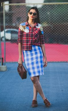 #Streetstyle fashion week india look book whatiwore  Checks and plaid For more visit: Www.mscocoqueen.com