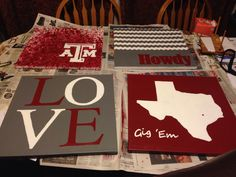 Texas A M DIY canvas decor project my friend and I did this week. Really happy with the finished product!