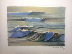 """Silver Shorebreak II"" Oil Painting on Paper Oil Painting On Paper, Oil Paintings, Watercolor Paper, Silver Surf, Blue And Silver, Paper News, Tropical Decor, Impressionist, Waves"