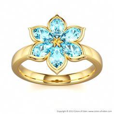 Blue Zircon Flower Ring