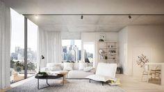 Unique architecture: A living room in the Mint development at 71 Rouse St, Port Melbourne.