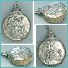 Antique Art Nouveau French Silver Chatelaine Pin Cushion / Disc * Circa 1890s