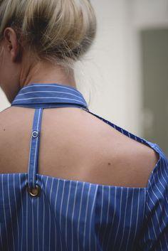 NIKA shirt shirt with open back deconstructed from a mens shirt  #deconstruction #shirt #whiteshirt #womenswear